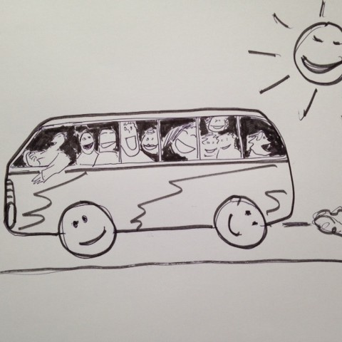 Lachen in de bus - illustratie door Painterman